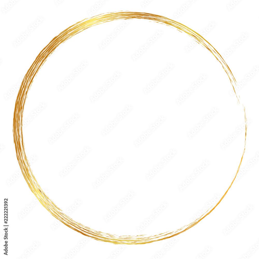 Fototapety, obrazy: golden circle crayon frame