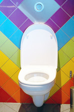 Close-up Of Toilet Bowl. Color...