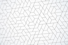 Texture And Background Of White Metallic Plate And Screen Mesh, Metallic Wall Of Modern Building. White Square Paneling On The Wall. White Aluminum Trapezium Texture.