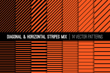 Halloween Orange And Black Diagonal And Horizontal Stripes Vector Patterns. Modern Striped Backgrounds. Set Of Pin Stripes And Candy Stripes. Variable Thickness Lines. Pattern Tile Swatches Included