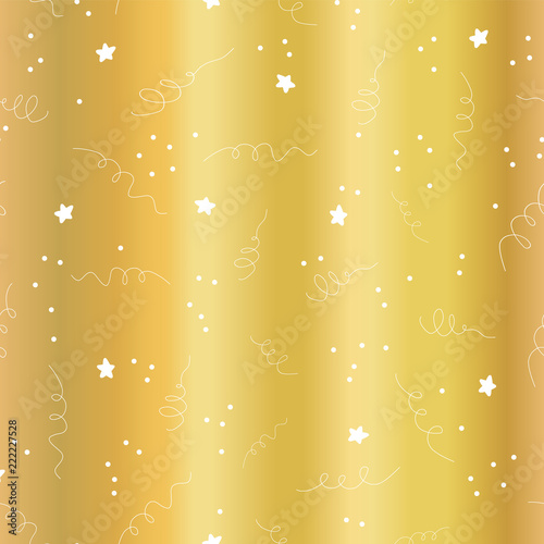 gold foil star confetti curls celebration seamless vector background metallic golden foil abstract pattern
