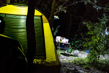 Late Night In The Forest. Camoing In Tents Outdoors Nature Concept D
