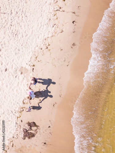 Fotografia  Baltic beach from above with people