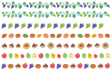 秋の果物 飾り線