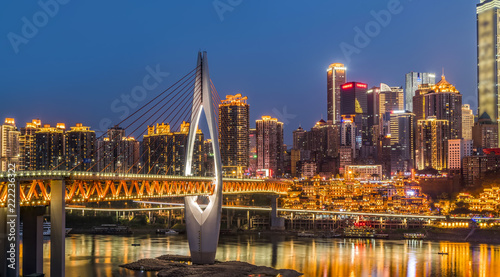 Chongqing city architecture landscape night view