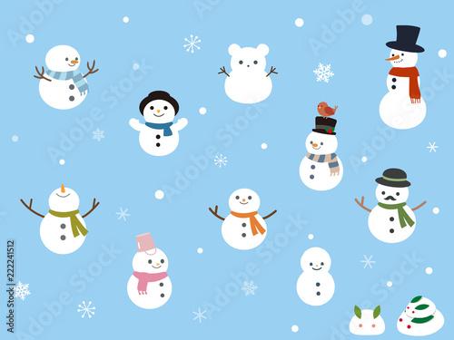 Fotografie, Obraz カワイイ雪だるま、スノーマンのイラスト