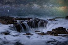 Thor's Well Oregon Night Seascape. Stars Over A Natural Drain Hole In The Ocean On The Oregon Coast Near Yachats.