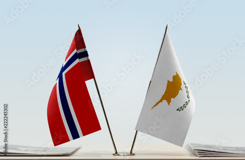 Two flags of Norway and Cyprus