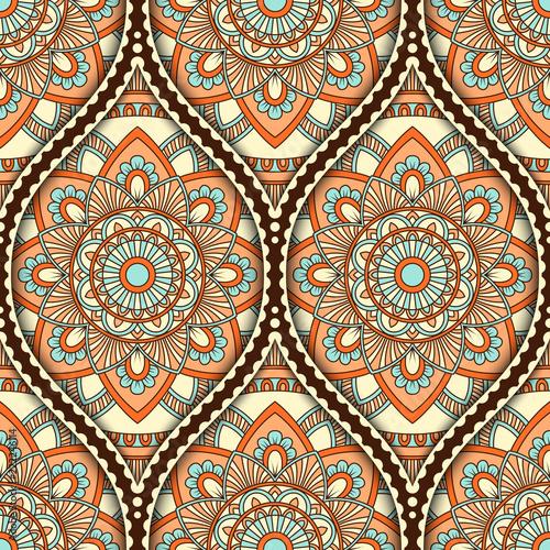 Foto auf AluDibond Boho-Stil Seamless pattern with ethnic mandala ornament. Hand drawn illustration