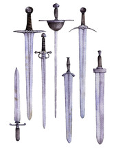 Watercolor Swords At White Bac...