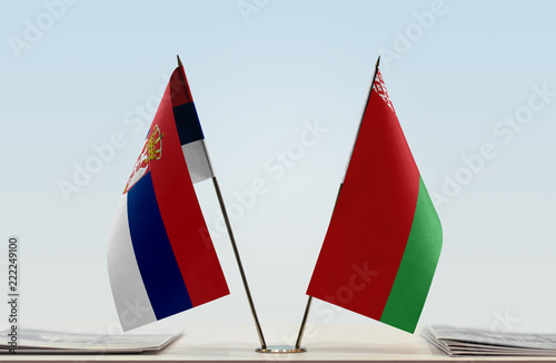 Two flags of Serbia and Belarus