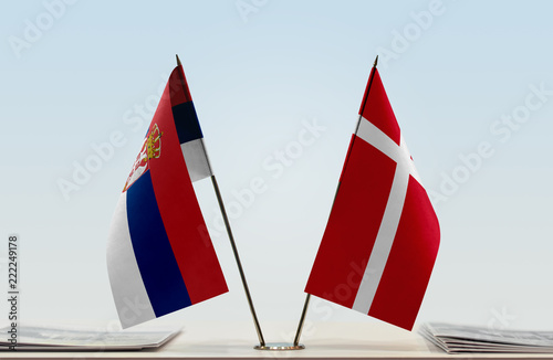 Two flags of Serbia and Denmark