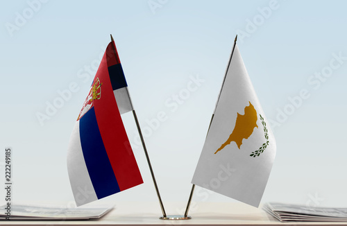 Two flags of Serbia and Cyprus