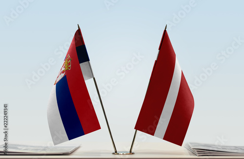 Two flags of Serbia and Latvia