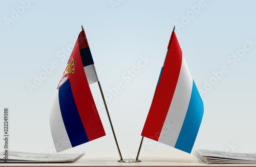Two flags of Serbia and Luxembourg