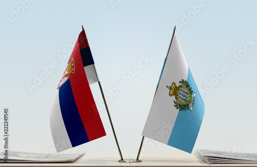 Two flags of Serbia and San Marino
