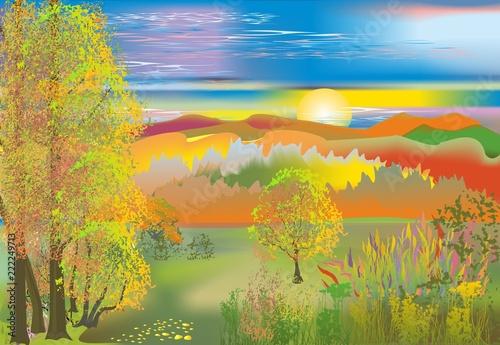 Obraz jesień w górach - fototapety do salonu