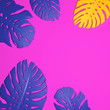 canvas print picture - Blue and yellow monstera leaf on pink background. Illustration of tropical leaves, jungle, flat lay minimalistic style top view