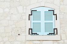 Vintage Blue Window On White Wall