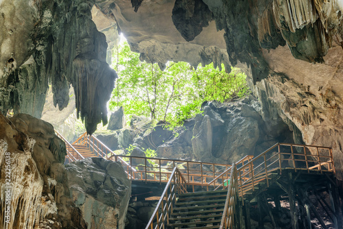 Fotobehang Kuala Lumpur Stairs leading to exit from Tien Son Cave in Vietnam