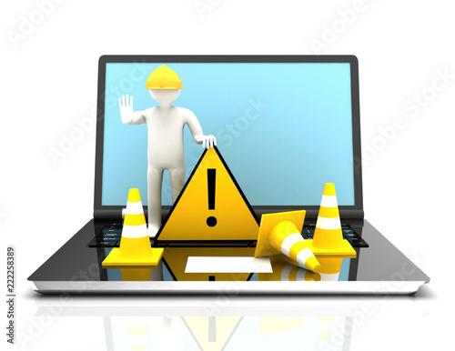 Fotografie, Obraz  Website under construction with Laptop