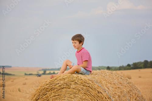 Fotografiet  Cute preschool boy, sitting on hastack in field on a cloudy day
