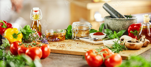 Canvas Print Panorama banner with fresh culinary herbs