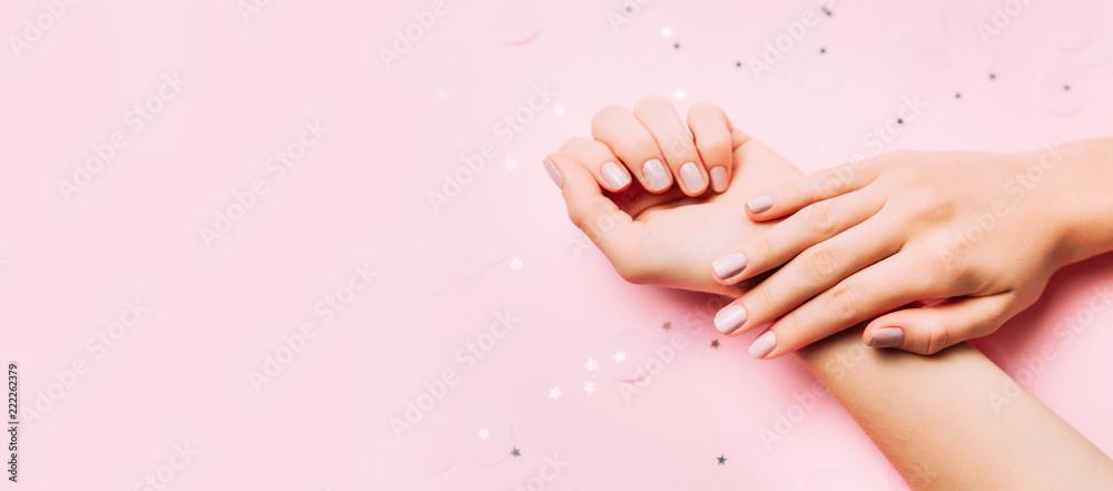 Fototapety, obrazy: Beautiful woman manicure on creative pink background. Minimalist trend.