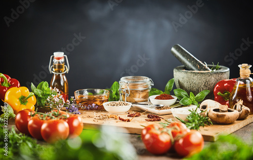 Fresh vegetables, aromatic herbs and spices