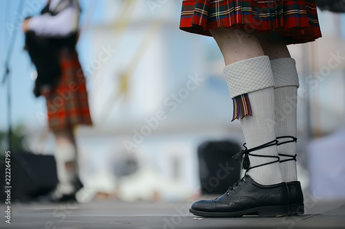 Canvas Print feet in Scottish skirts, the Scottish National Orchestra plays on St