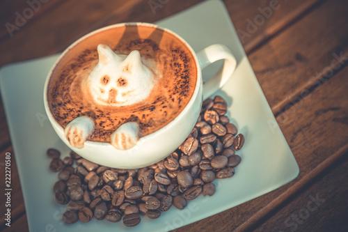 Fotografie, Obraz  Latte art, funny coffee background on wooden table