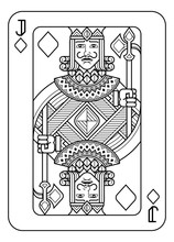 A Playing Card Jack Of Diamonds In Black And White From A New Modern Original Complete Full Deck Design. Standard Poker Size.