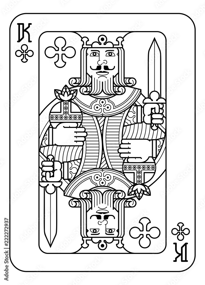 Fototapeta A playing card king of Spades in black and white from a new modern original complete full deck design. Standard poker size.