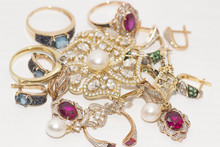 Many Gold Ornaments With Rubies, Diamonds, Pearls, Emeralds