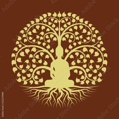 Fotografija Gold buddha Meditate under Bodhi tree circle sign style vector design