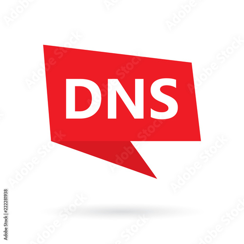Photo DNS (Domain Name System) acronym on a speach bubble- vector illustration