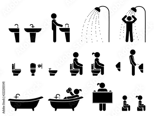 Stampa su Tela Restroom Signs Illustration