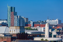 The Skyline Of The City Of Plymouth On A Bright Sunny Day.