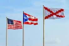 Flags Of The Old Spanish Military (Cross Of Burgundy), Puerto Rico And America At Fort San Cristobal In San Juan, Puerto Rico