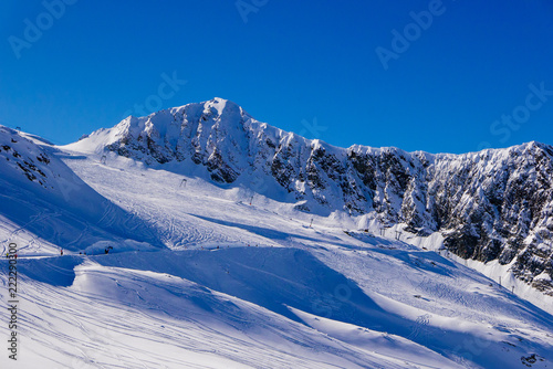 Winter scenery at Hintertux glacier in Alps mountains.