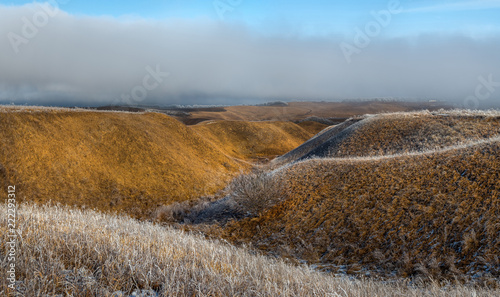 Orange steppe in the snow, hoarfrost. The winter steppe is frostbitten. Steppe landscape, nature.