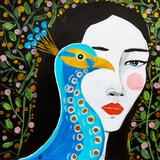 donna con uccello dipinto bello - 222295328