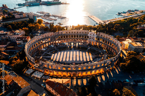 Pula Arena at sunset - aerial view taken by a professional drone Poster Mural XXL