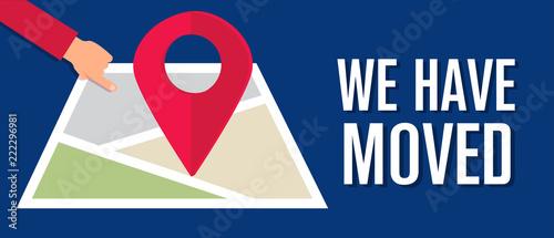 We have moved, changed address navigation, flat illustration vector Canvas Print