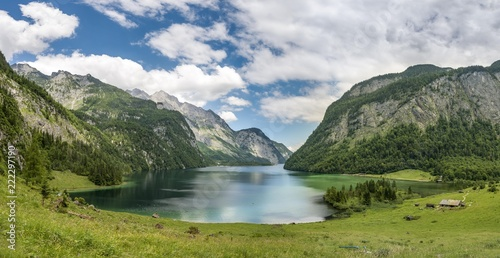 Foto op Plexiglas Bergen View over lake Koenigssee from the Salet Alm, Berchtesgaden National Park, Berchtesgadener Land, Upper Bavaria, Bavaria, Germany, Europe