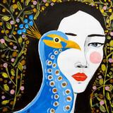 dipinto donna bella con pavone - 222298118