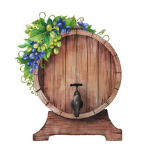 Watercolor Wine Barrel Decorated With Bunches Of Grapes And Leaves.