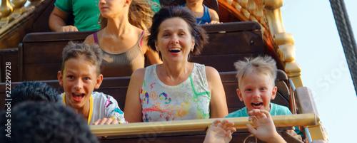 Aluminium Prints Amusement Park emotional portraits of people park attractions.