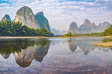Sunrise view of Li River by Xingping. China.