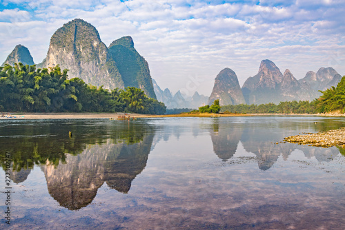 Poster Guilin Sunrise view of Li River by Xingping. China.